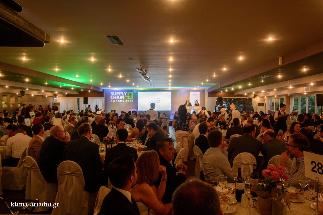 Γενική άποψη της αίθουσας Φαιστός στο Κτήμα Αριάδνη από τη βραδιά των Βραβείων Εφοδιαστικής Αλυσίδας