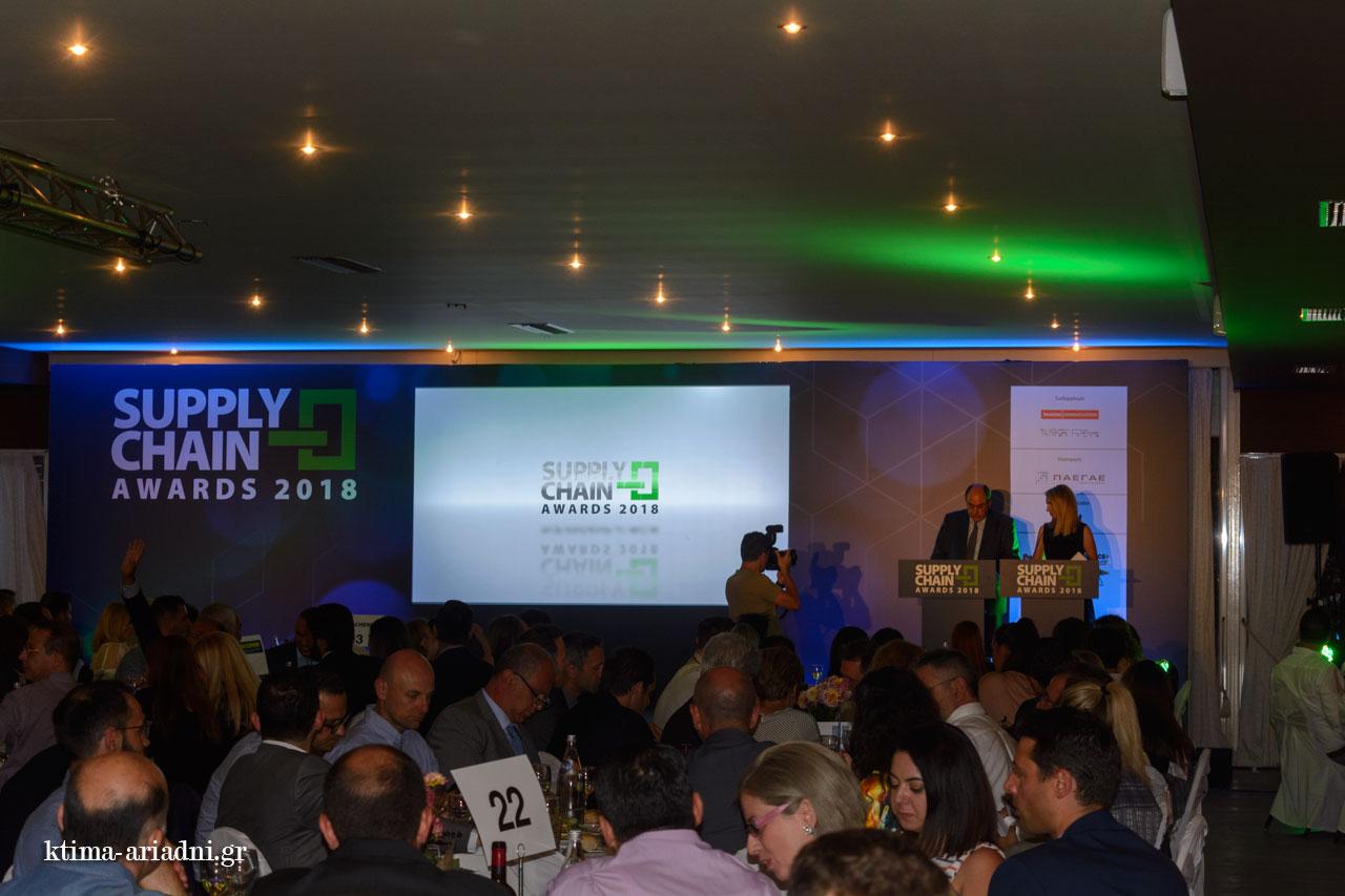 Στιγμιότυπο από τη βραδιά των supply chain awards στο Κτήμα Αριάδνη