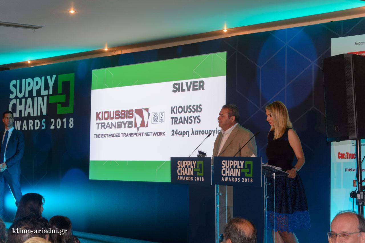 Ο κύριος Κιούσης ευχαριστεί για το Βραβείο με το οποίο τιμήθηκε η Kioussis Transys