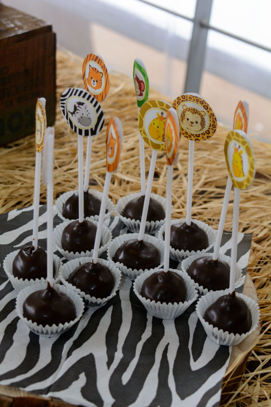 thematiko paidiko party safari cake pops